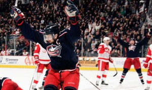 Rick Nash Gets the Hat Trick in overtime to beat the Red Wings