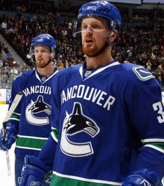 (THW file photo) Henrik, right, and Daniel Sedin, seen here in their early NHL days before assuming leadership roles with the Vancouver Canucks, have become one of the best brother tandems in NHL history.