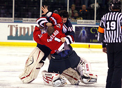 Edward Pasquale #40 Takes Out Opposing Goalie {A Sundays Drive - Flickr}