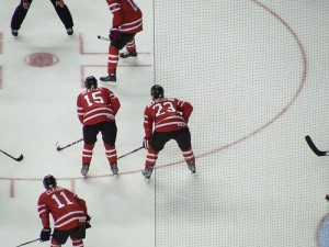 Beauchemin Lined Up With Heatley And Cleary {Photo by Chris Ralph}