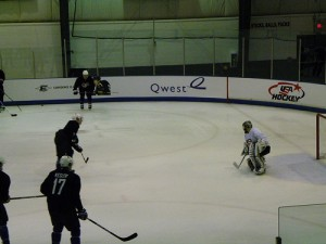 Patrick Kane breaks in on Jonathan Quick (photo property of the author)