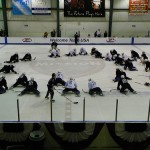 The team stretching before the start of practice (photo property of the author)