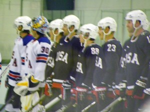 US players modeling the team's new jerseys (photo courtesy of the author)