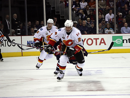Craig Conroy Back Centering Jarome Iginla For Tonight's Game {Photo by Dave Gainer - The Hockey Writers}