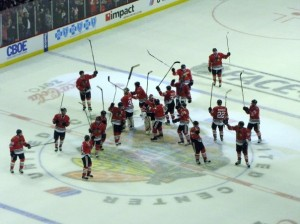 The Blackhawks, including Huet, salute the crowd after the win (photo property of Pam Rodriguez)