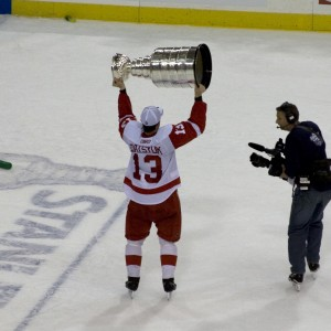 Pavel Datsyuk hoisting the Cup