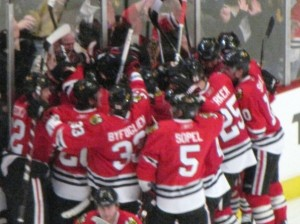 Hawks Players mob each other after a big win (photo property of Pam Rodriguez)