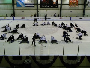 The US Team stretches before practice in Woodridge (photo property of the author)