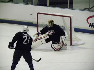 Tim Thomas takes on Ryan Callahan at practice (photo property of the author)