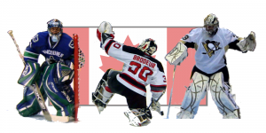Team Canada goalies: Luongo, Brodeur, and Fleury