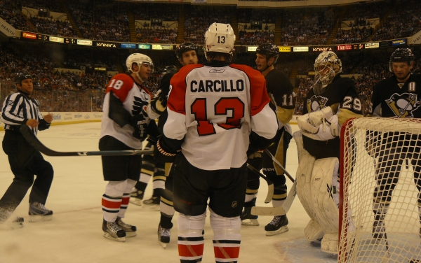 The Philadelphia Flyers and Pittsburgh Penguins do not like each other.  Photo by Author.