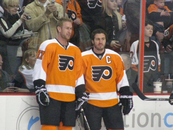 Jeff Carter and Mike Richard with the Philadelphia Flyers.