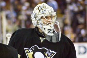 Marc-Andre Fleury recorded his 11th straight victory after being pulled in the prior game. (©Stephanie Cohen)