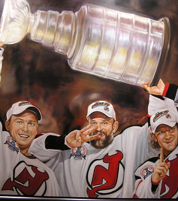 Martin Brodeur, Ken Daneyko & Patrik Elias celebrate the Devils' third Stanley Cup. (Eeleus/Flickr)