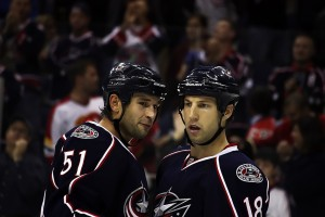 Columbus Blue Jackets Fedor Tyutin and RJ Umberger (Dave Gainer/THW)