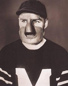 Clint Benedict, wearing the mask he sported for only one NHL game.