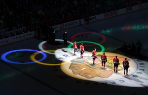 Blackhawks Olympians were honored before the 3/3/10 home game