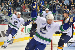 The Sedin twins were both in the controversial game-winning goal against the Kings Saturday (Photo by Danielle Browne).