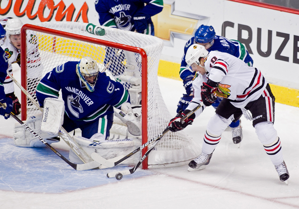 Patrick Sharp attempting to score in Game 2 of the 7-game series between the Vancouver Canucks and Chicago Blackhawks during the 2010-2011 Stanley Cup Playoffs.
