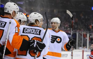 Braydon Coburn Claude Giroux: APR 01 Flyers at Devils