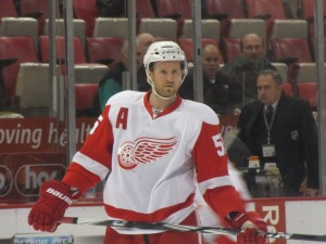 "Anyone else miss this from the game the other night? Niklas Kronwall wore an ""A"" for the Detroit Red Wings while Kris Draper and Pavel Datsyuk sat out. (Image via Kat)"