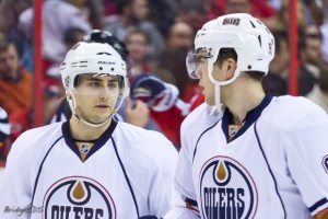 Paajarvi with Jordan Eberle last season (Bridgetds/Photoree)