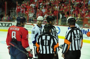 Ovi chatting with the refs (Tom Turk/THW)