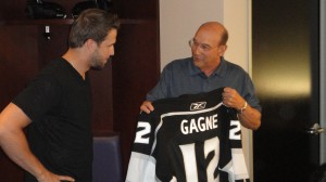 Simon Gagne was presented with his Kings jersey by longtime broadcaster Bob Miller (Photo by Andrew Knoll).