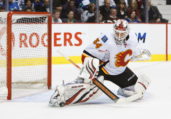 NHL Goalie Miikka Kiprusoff of the Calgary Flames