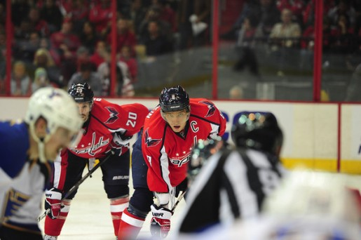 Ovechkin awaits for the faceoff against the Blues. (Tom Turk/THW)