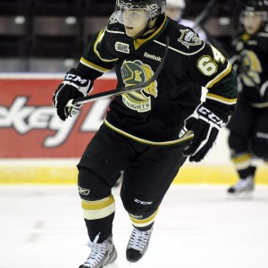 Knights' Ryan Rupert could get the book thrown at him with the latest stick swinging incident (Aaron Bell/OHL Images)