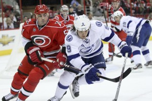 Tampa Bay Lightning 	Steve Downie / Carolina Hurricane Tomas Kaberle  - Photo By Andy Martin Jr
