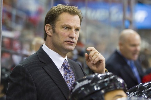 Kirk Muller behind the Canes bench.  (Photo Credit: Andy Martin Jr)