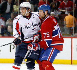 Washington Capitals forward Alex Ovechkin and former-Montreal Canadiens defenseman Hal Gill