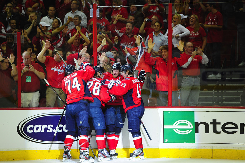 Capitals celebrate goal game 6 vs. Rangers 2011-2012 playoffs