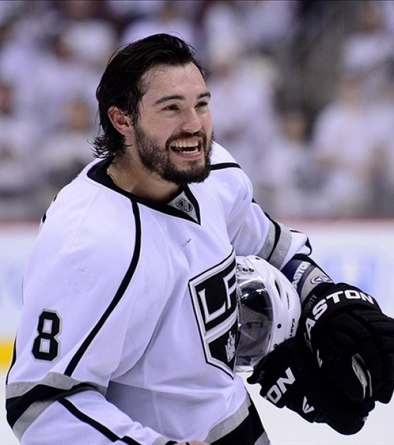 Drew Doughty and the Los Angeles Kings are within one win of the Stanley Cup (Matt Kartozian-US PRESSWIRE)