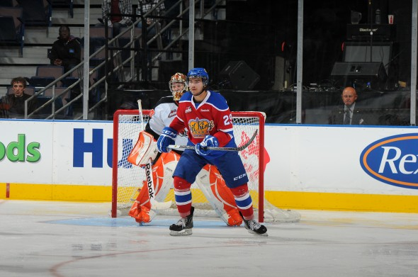 Mitch Moroz at home in front of the net (photo by Andy Devlin, Edmonton Oil Kings)