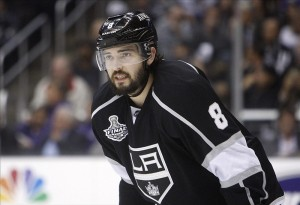 Drew Doughty is one of the best all-around defenseman in the league and has two Stanley Cup rings and Gold Medals to prove it. (Jerry Lai-US PRESSWIRE)