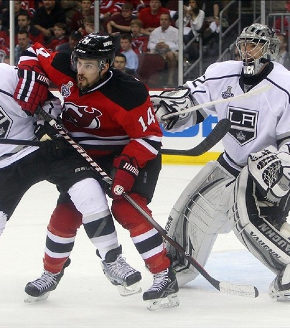 Adam Henrique battles during the 2012 Stanley Cup Final. (Ed Mulholland-US PRESSWIRE)