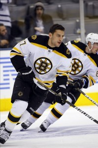 Milan Lucic let Shawn Thornton fight his battle with the Buffalo Sabres Thursday night. (John E. Sokolowski-US PRESSWIRE)