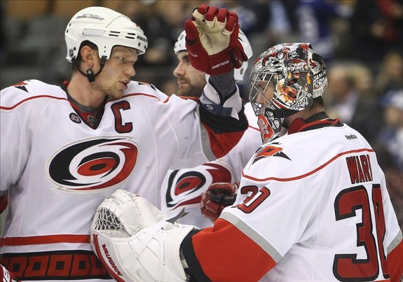 (Tom Szczerbowski-US PRESSWIRE) The Carolina Hurricanes are hopeful that both Eric Staal, left, and Cam Ward can rebound this season. That might mean giving Staal new linemates to start the 2014-15 campaign.