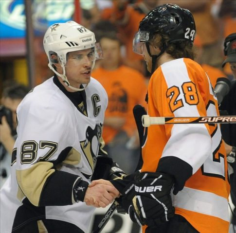 Sidney Crosby, Claude Giroux, Pittsburgh Penguins, Philadelphia Flyers