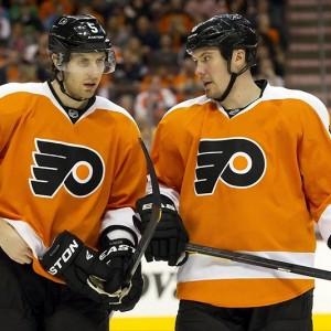 Flyers defensemen Braydon Coburn and Nicklas Grossman (Christopher Szagola-USA TODAY Sports)