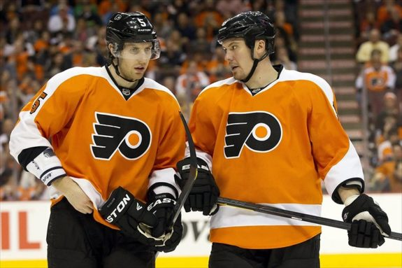 Flyers defensemen Braydon Coburn and Nicklas Grossman (Christopher Szagola-USA TODAY Sports)