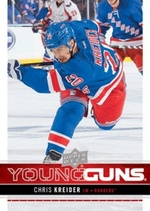 Chris Kreider's rookie card in 2012-13 Upper Deck Series One.