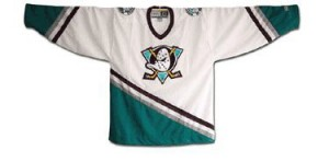The Anaheim Mighty Ducks wore this jersey from 1993 to 2006