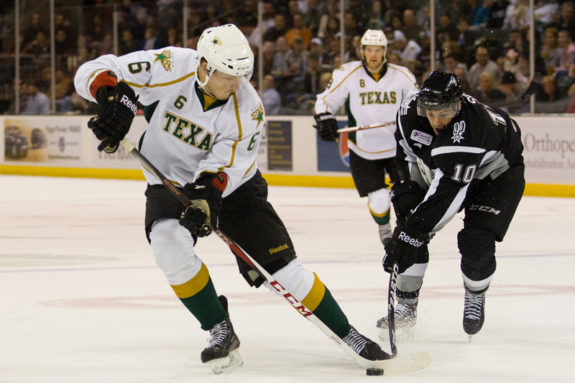 Jamie Oleksiak looks to finally earn a full-time spot in the NHL. (Josh Rasmussen / Texas Stars)