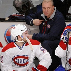 Montreal Canadiens head coach Michel Therrien and David Desharnais