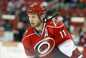 Staal debuted in Carolina with a -18 plus/minus rating.  Is that all on him though? (James Guillory-USA TODAY Sports)