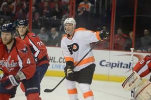 John Erskine and John Carlson against the Philadelphia Flyers on Friday night. (Tom Turk/THW)